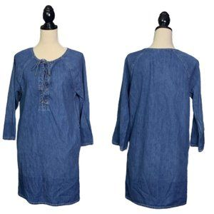 LAUREN RALPH LAUREN Denim Lace-Up Shift Dress Sz S